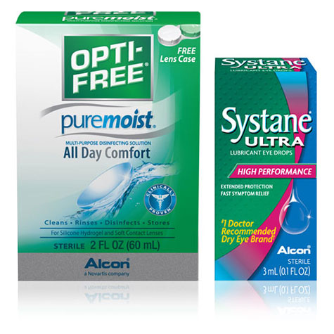 Alcon Opti-Free and Systane Boxes